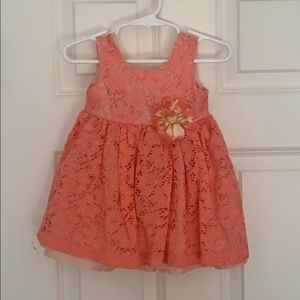 Blueberi 12 month lace coral dress with flower